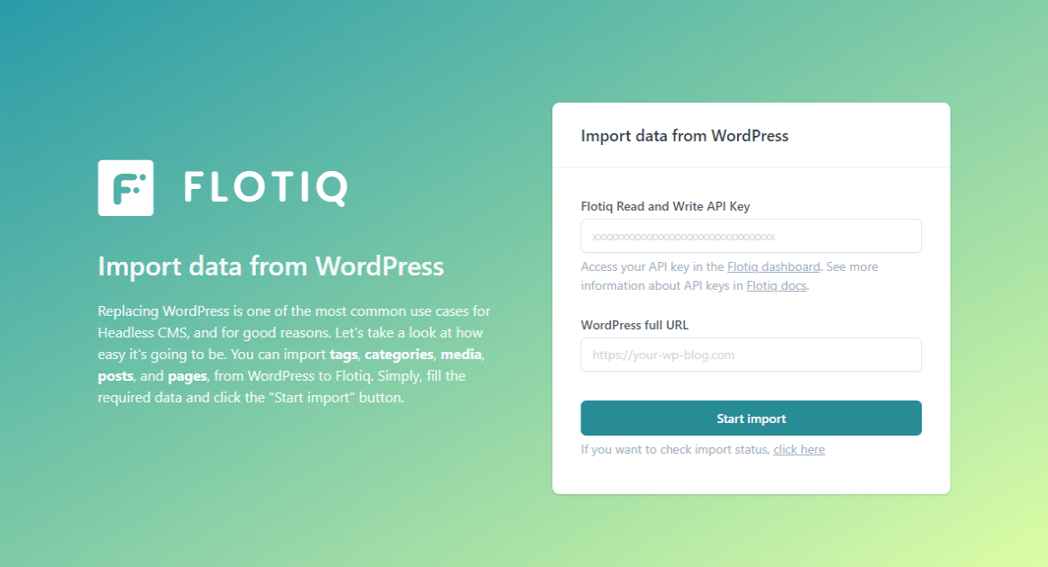One-click migration from Wordpress to Flotiq Headless CMS