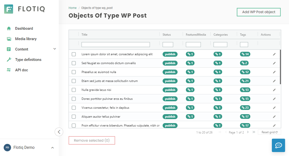 WordPress data in Flotiq headless CMS