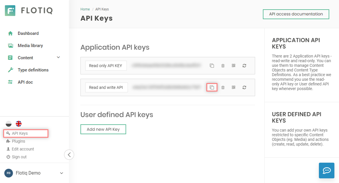 Get Read And Write API key from Flotiq Dashboard