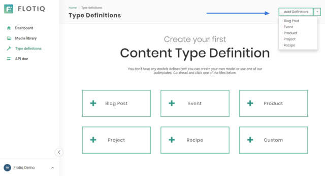 Predefined content type definitions available in Flotiq